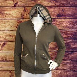 Burberry Olive Zip Sweatshirt w/Nova Check Hoodie
